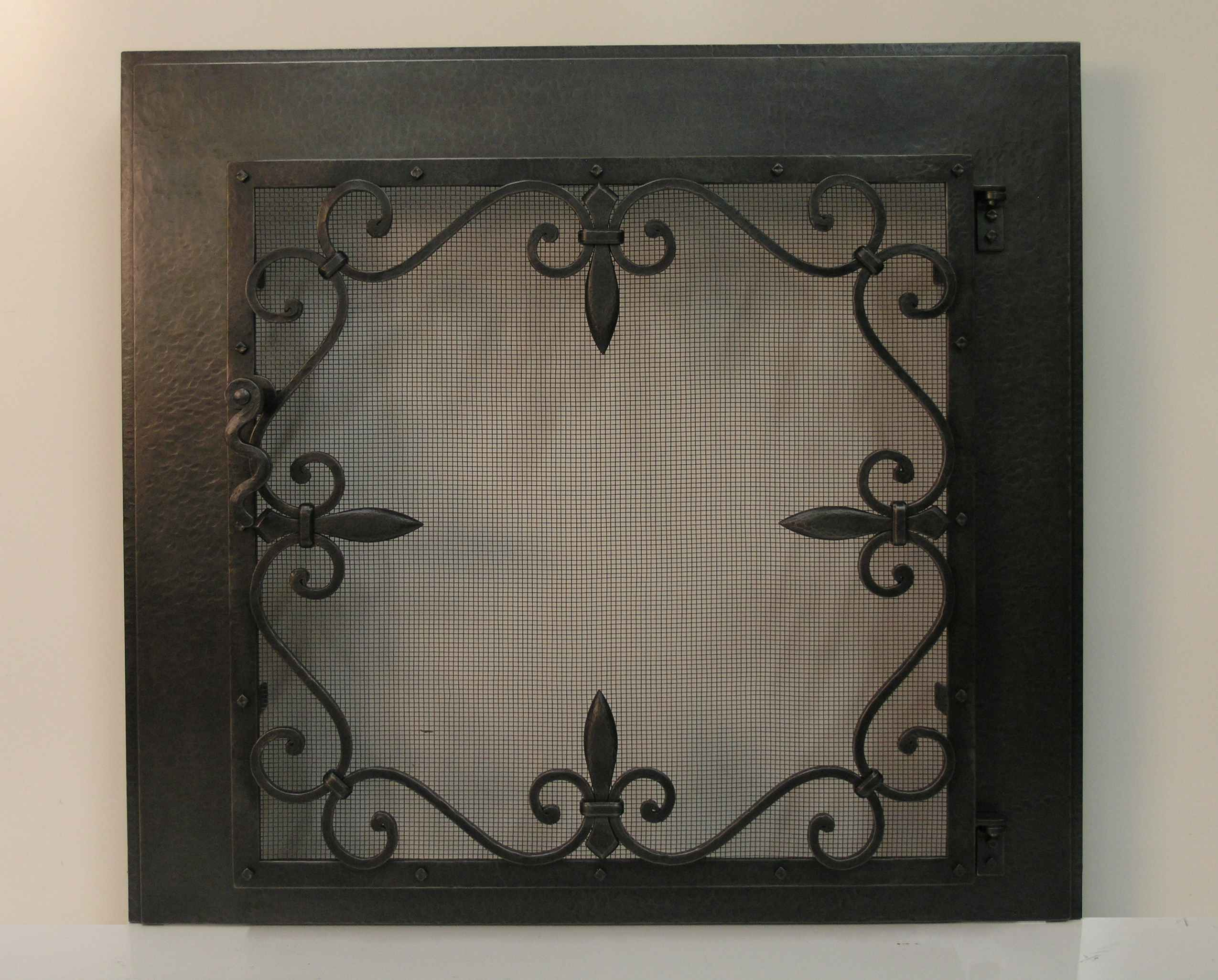 Dark Fleurdelis Scrolls Fire Screen